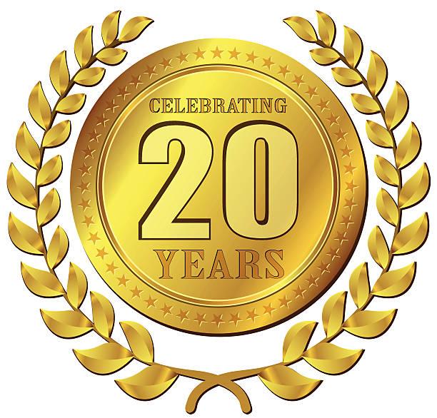 illustrazioni stock, clip art, cartoni animati e icone di tendenza di anniversary celebration gold icon - 20 24 anni
