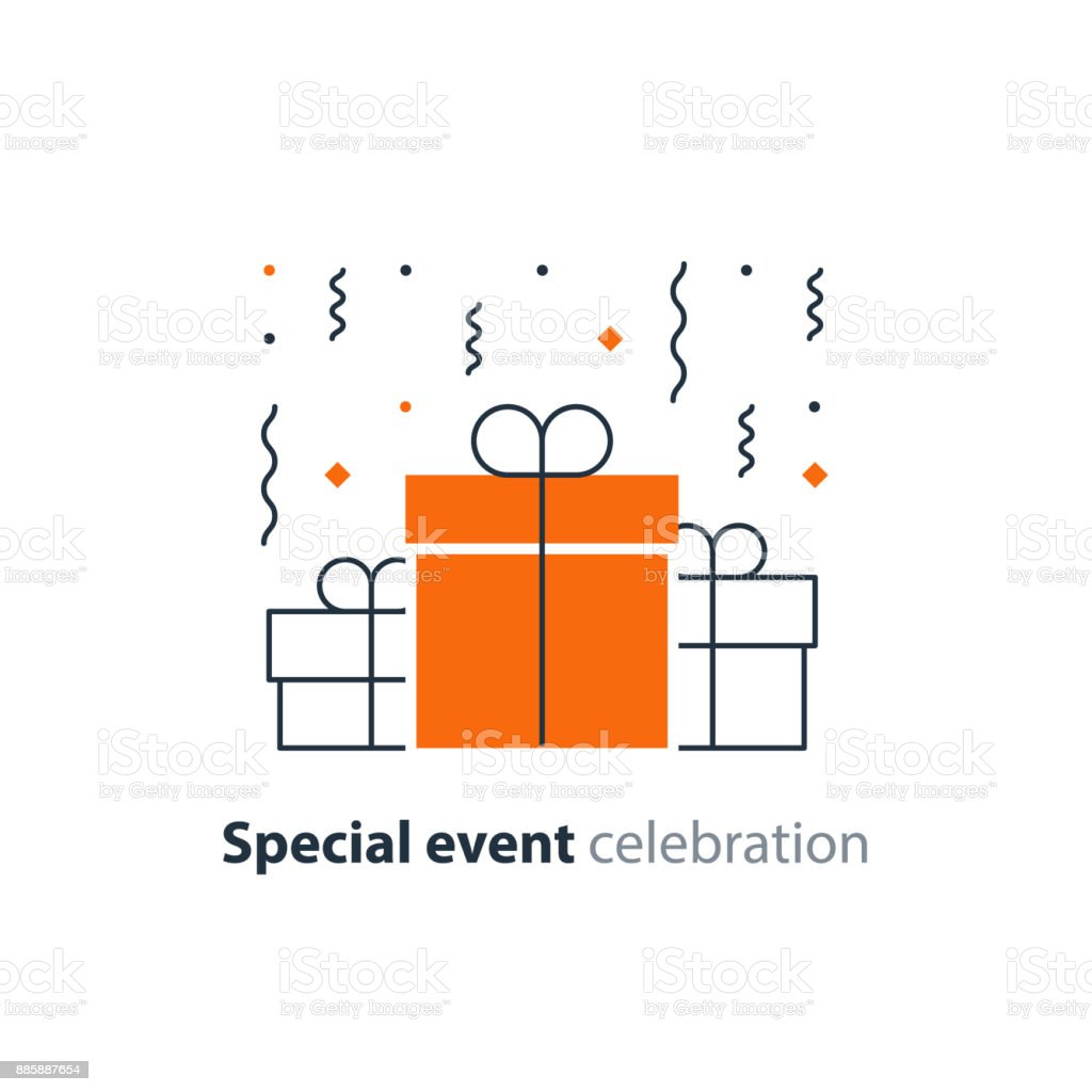 Anniversary celebration, happy birthday congratulations, group of three surprise gift boxes, falling confetti, vector illustration vector art illustration