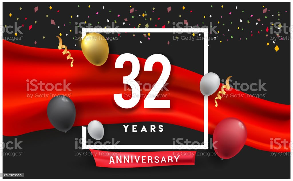 Anniversary celebration, isolated on red ribbon and balloon, vector elements for banner, invitation card and birthday party. vector art illustration