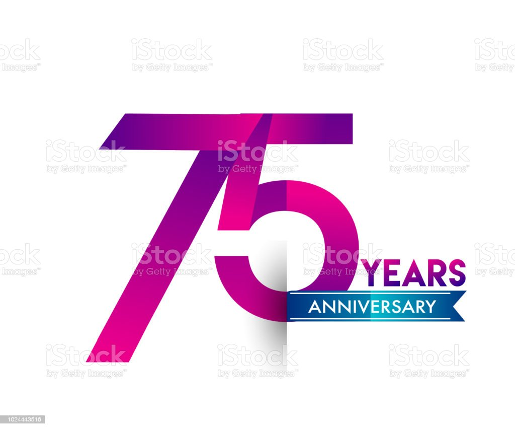 anniversary celebration logotype colorfull design with blue ribbon vector art illustration