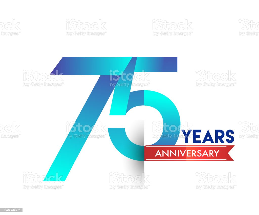 anniversary celebration logotype colorfull design with red ribbon vector art illustration