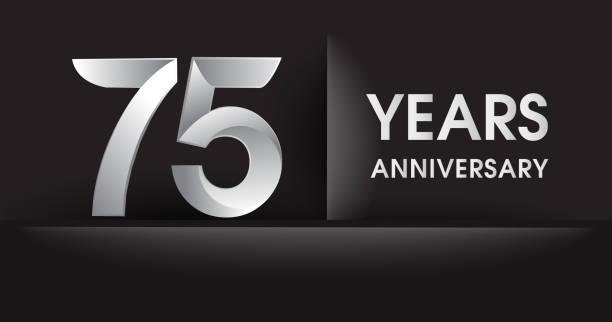 Anniversary celebration logotype, flat design isolated on black background vector art illustration