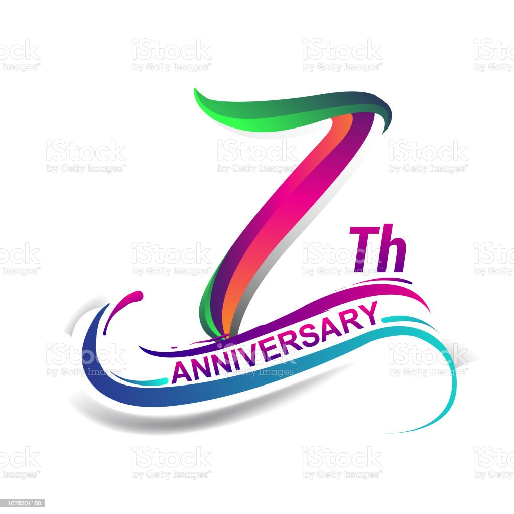 anniversary celebration logotype green and red vector art illustration