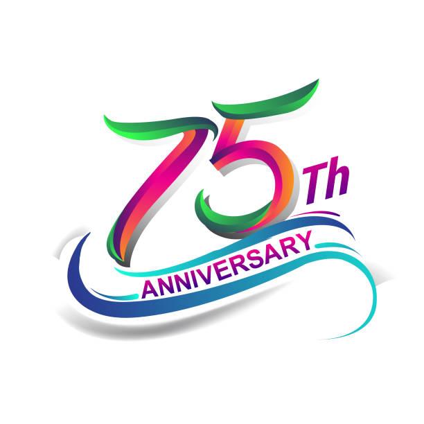 anniversary celebration logotype green and red vector art illustration