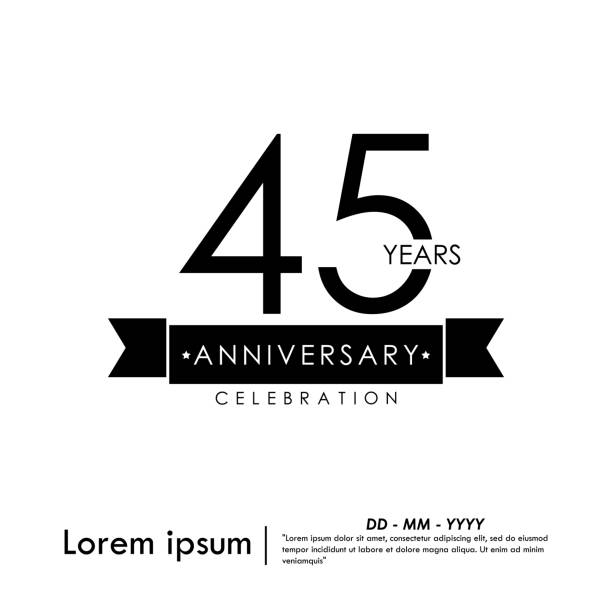 45 Anniversary celebration logotype with black and white stamp isolated, vector illustration template design for for web,flyers,leaflet, brochure, poster, invitation card or greeting card 45 Anniversary celebration logotype with black and white stamp isolated, vector illustration template design for for web,flyers,leaflet, brochure, poster, invitation card or greeting card greeting card with the 45th anniversary stock illustrations