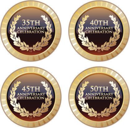 Celebration medals of the 35th, 40th, 45th and 50th anniversary decorated with meanders.