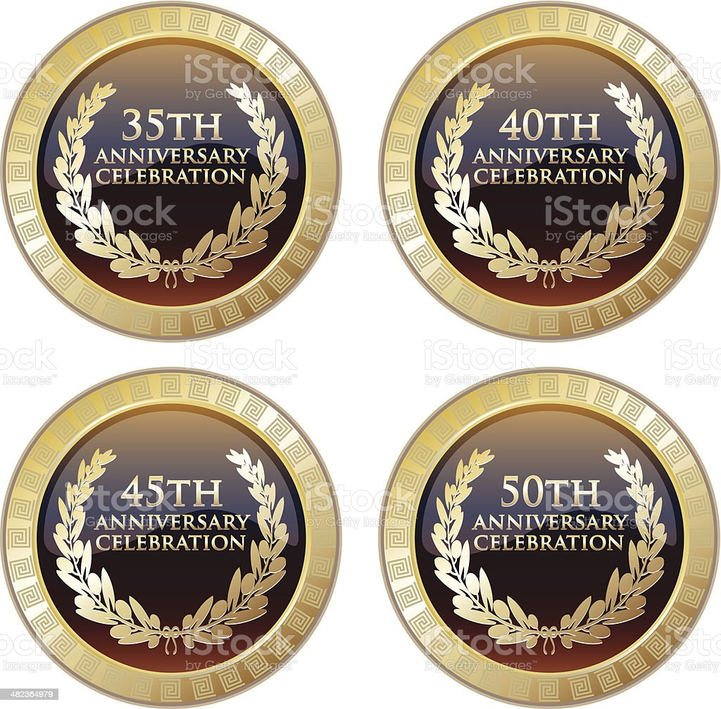Anniversary Celebration Medals Collection vector art illustration