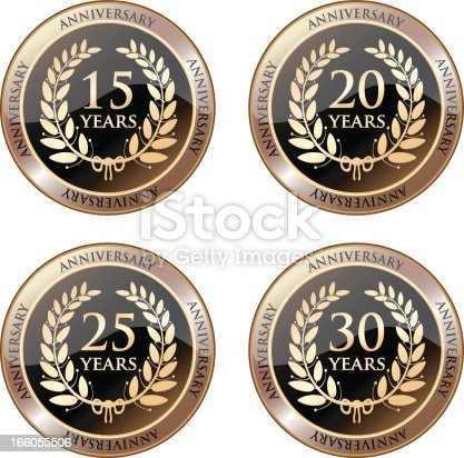 istock Anniversary Celebration Medals In Gold 166055506