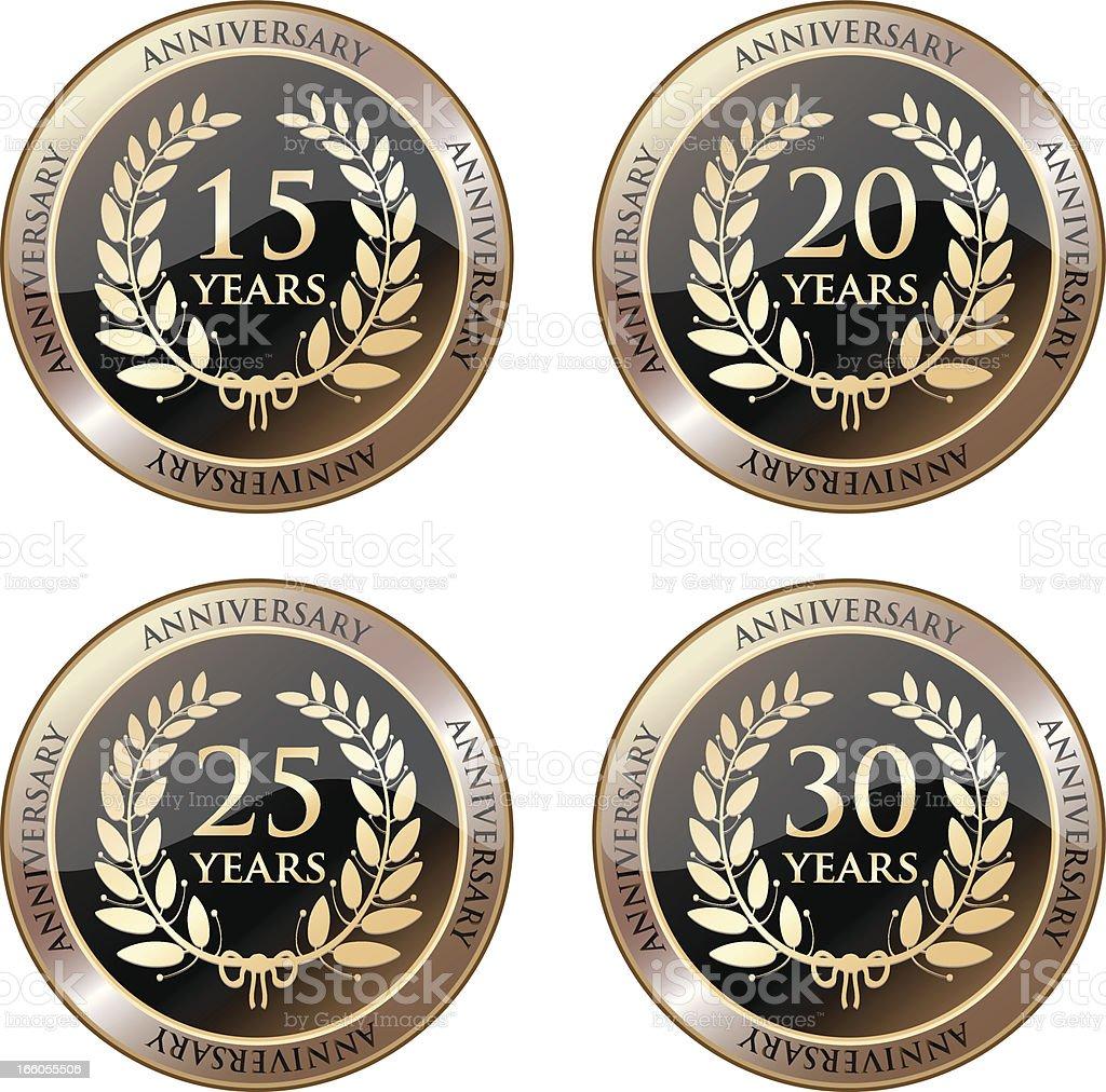 Anniversary Celebration Medals In Gold vector art illustration