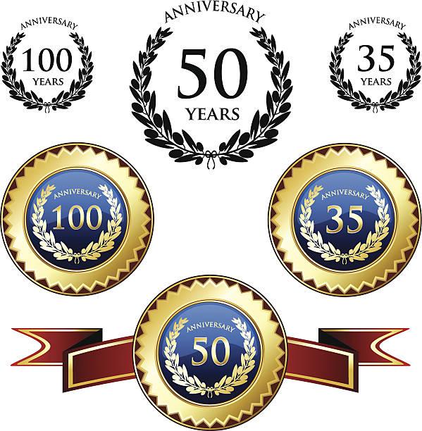 Comemoração de aniversário medalhas - ilustração de arte em vetor