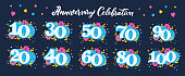 Anniversary celebration numbers flat vector illustrations set. Jubilee greeting card design elements pack. Creative hand drawn numbers with decorative hearts and flowers for birthday wishes postcards