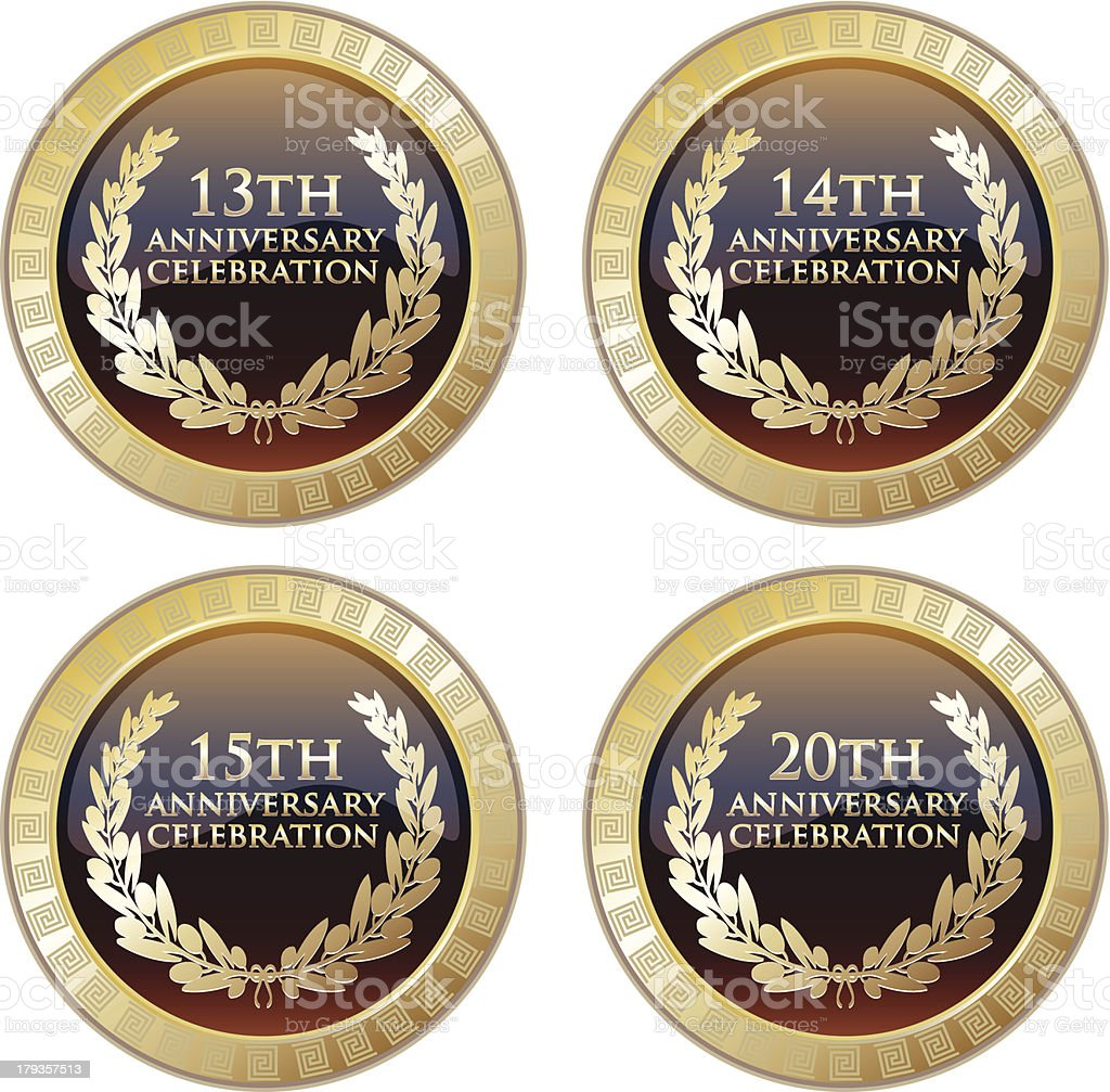 Anniversary Celebration Shield Collection royalty-free anniversary celebration shield collection stock vector art & more images of 14-15 years