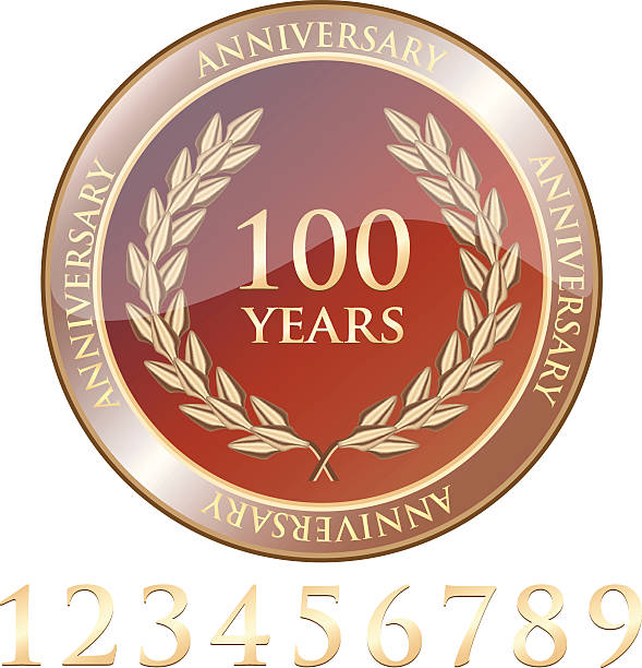 Anniversary Celebration Shield With Numbers Anniversary celebration golden shield with a laurel wreath and easily adjustable number set. 100th anniversary stock illustrations