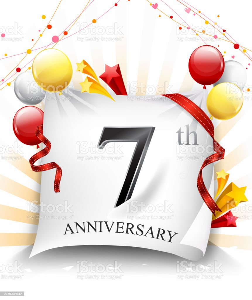 7 anniversary celebration with colorful confetti and balloon on cloth background with shiny elements vector art illustration