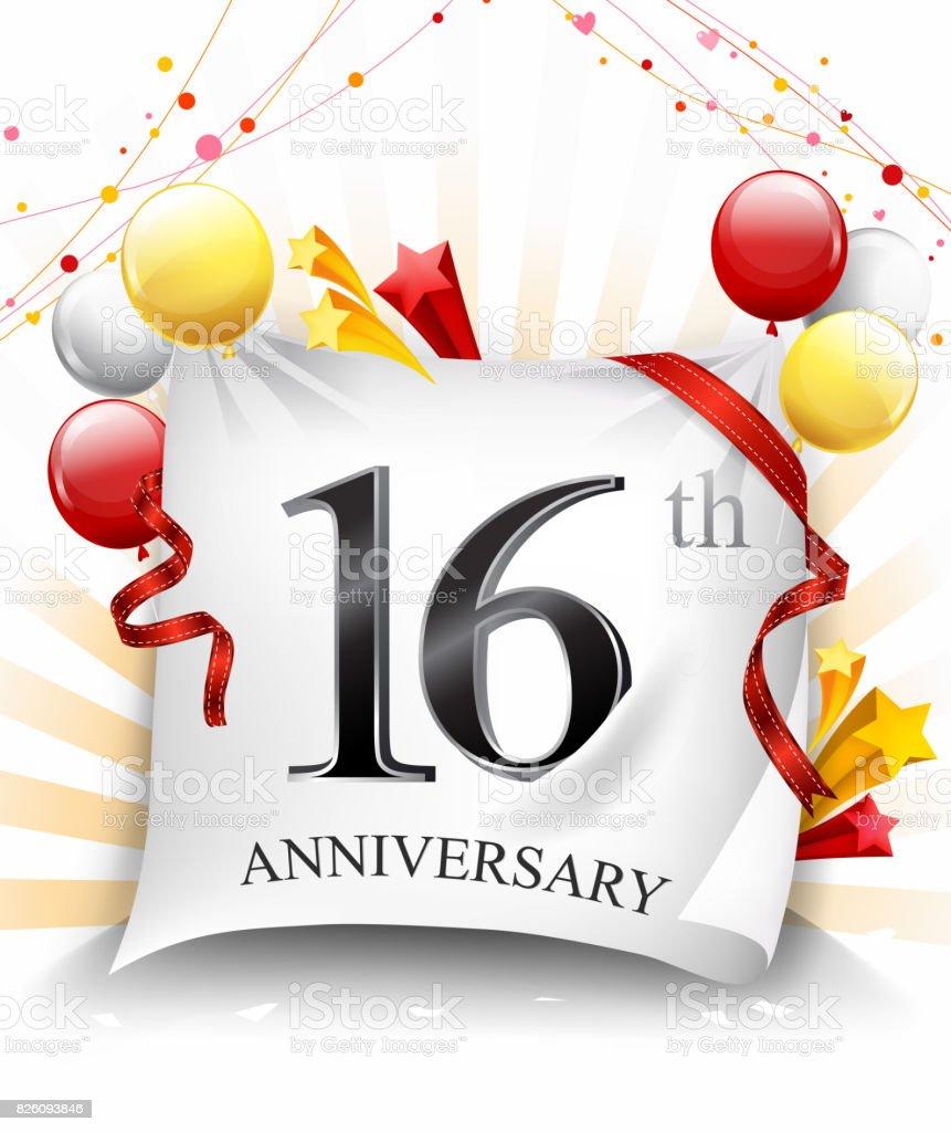 16 Verjaardag Feest Met Kleurrijke Confetti En Ballon Op Doek