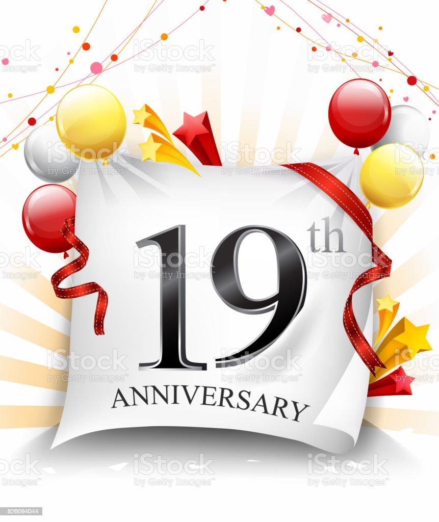 Verjaardag 19.19 Verjaardag Feest Met Kleurrijke Confetti En Ballon Op Doek Achtergrond Met Glanzende Elementen Stockvectorkunst En Meer Beelden Van 18 19 Jaar