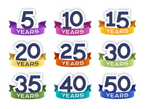 Anniversary year celebration numbers badges symbols on white background.
