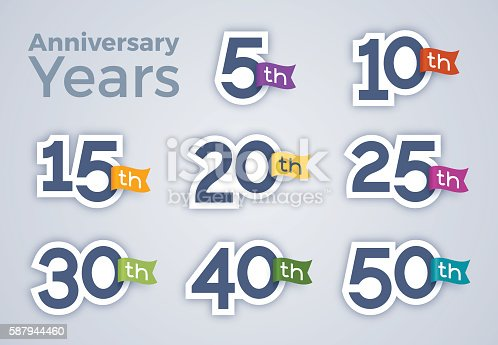 Anniversary year celebration numbers. EPS 10 file. Transparency effects used on highlight elements.