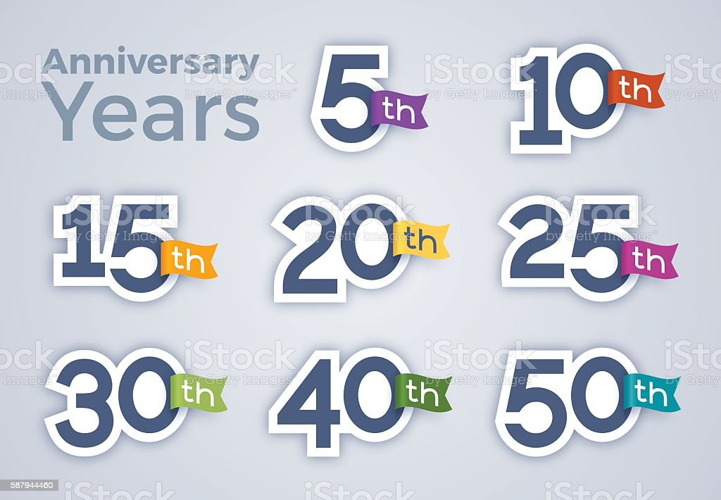 Anniversary Celebration Year Numbers - ilustración de arte vectorial