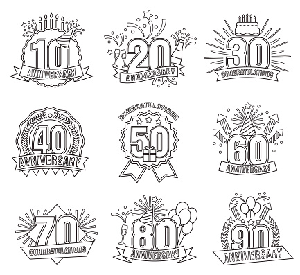 Anniversary coloring stickers style line art set