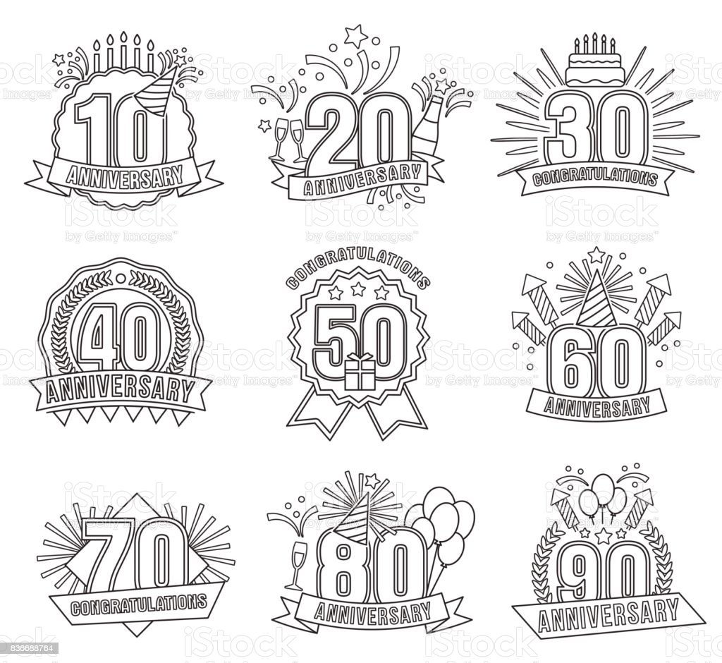Anniversary coloring stickers style line art set vector art illustration