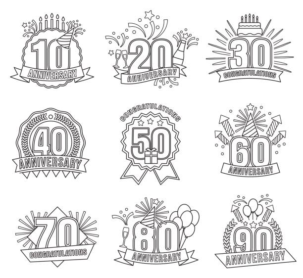 anniversary coloring stickers style line art set - prom fashion stock illustrations, clip art, cartoons, & icons