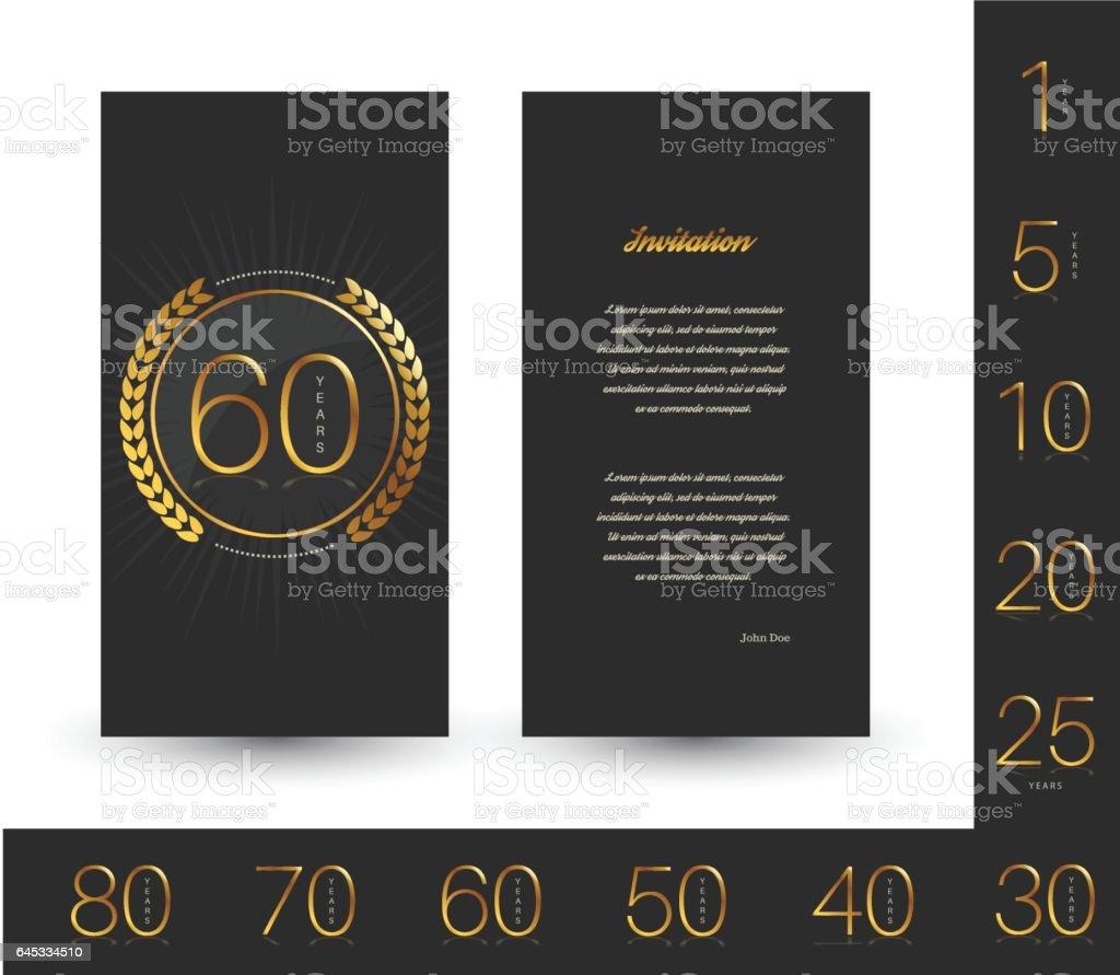 Anniversary decorated invitation / greeting card template. vector art illustration