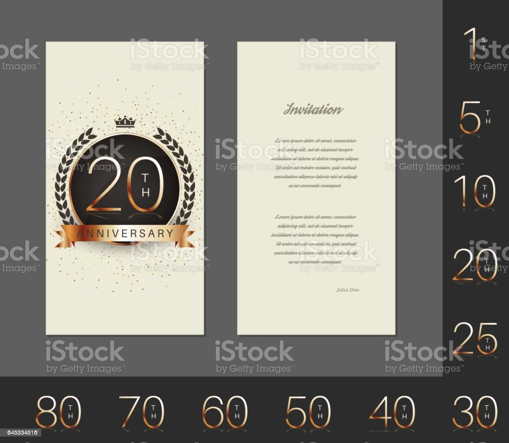 Anniversary decorated invitation / greeting card template. vector art illustration