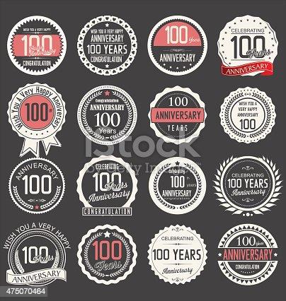 Anniversary Design 100 Years Stock Vector Art 475070464 Istock