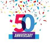 Anniversary design. 50th icon . Colorful overlapping  with  confetti