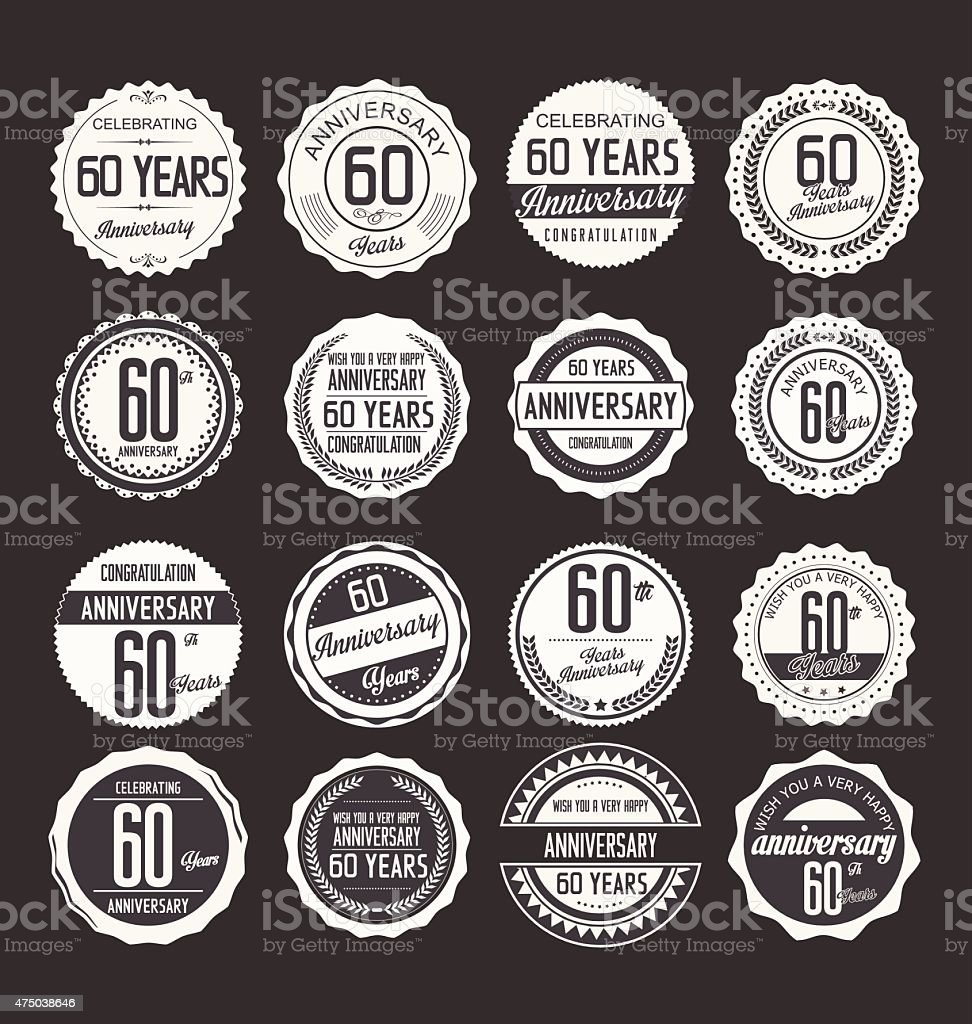 Anniversary design, 60 years vector art illustration