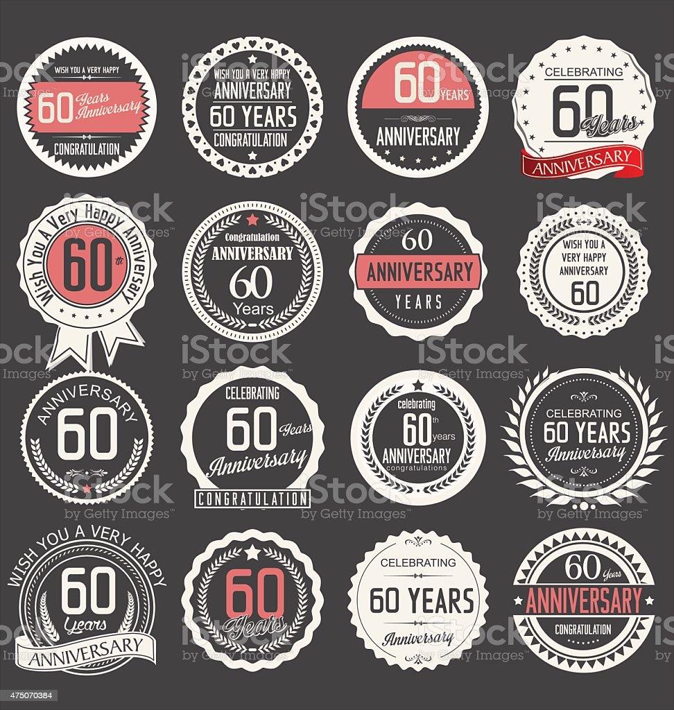 design di anniversario 60 anni - illustrazione arte vettoriale