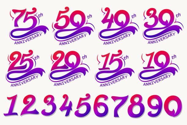 Anniversary Design, 75th Years Template celebration sign. Vector vector art illustration