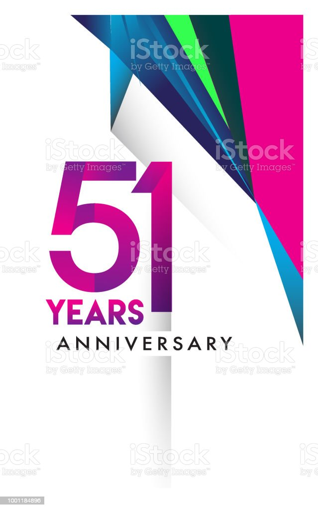Anniversary design and birthday celebration with colorful geometric isolated on white background. vector art illustration