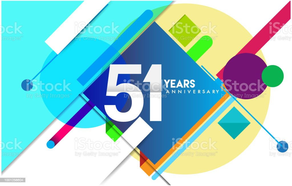 Anniversary design and birthday celebration with colorful geometric, invitation card and greeting card vector art illustration