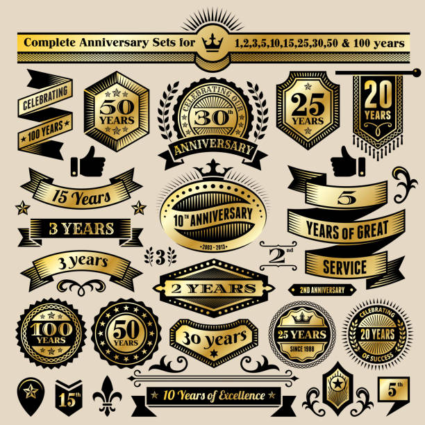 Anniversary Design Collection Black & Gold Banners, Badges, and Symbols Anniversary Design Collection Black & Gold Banners, Badges, and Symbols 100th anniversary stock illustrations