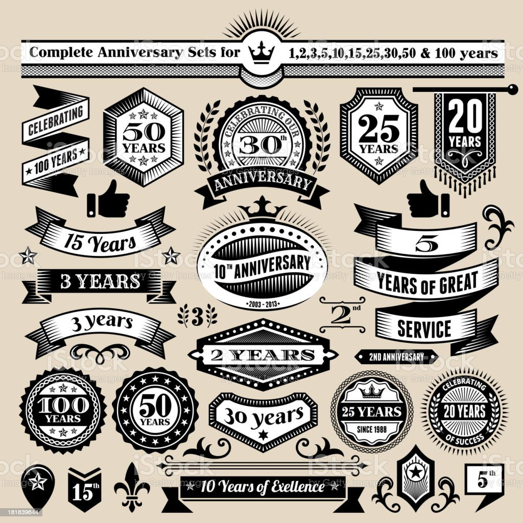 Jubiläums-Kollektion, schwarzes & weißen Banner, Abzeichen und Symbole – Vektorgrafik