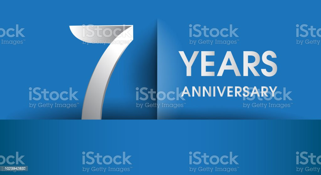 Anniversary design, flat design isolated on blue background vector art illustration