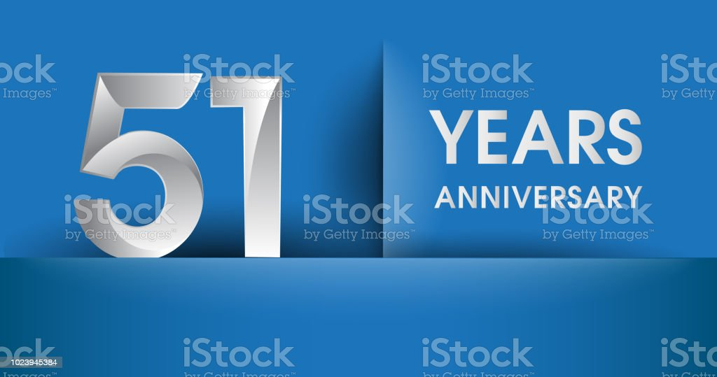 Anniversary design, flat design isolated on blue background vector art illustration