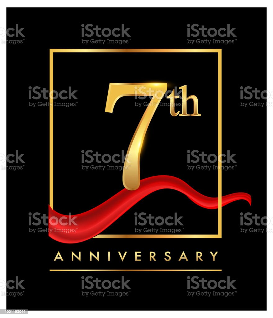 anniversary design for celebration with confetti golden colored and red ribbon isolated on black background vector art illustration