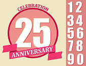 Anniversary Design set, Template celebration sign