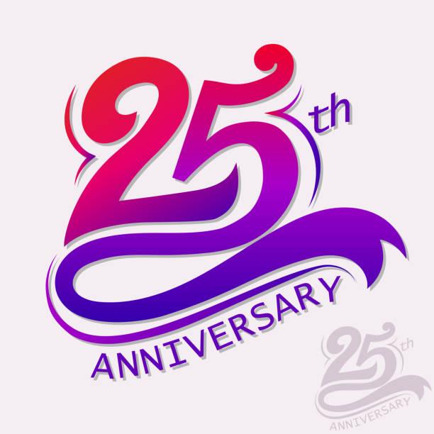 bildbanksillustrationer, clip art samt tecknat material och ikoner med anniversary design, template celebration sign - 25 29 år