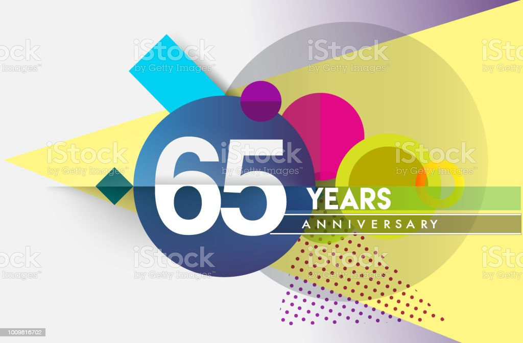 Anniversary Design, vector design birthday celebration with colorful geometric background and circles shape vector art illustration