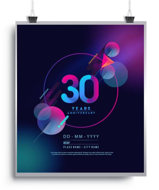 bildbanksillustrationer, clip art samt tecknat material och ikoner med årsdagen design med färgglada abstrakt geometrisk bakgrund. - nummer 30