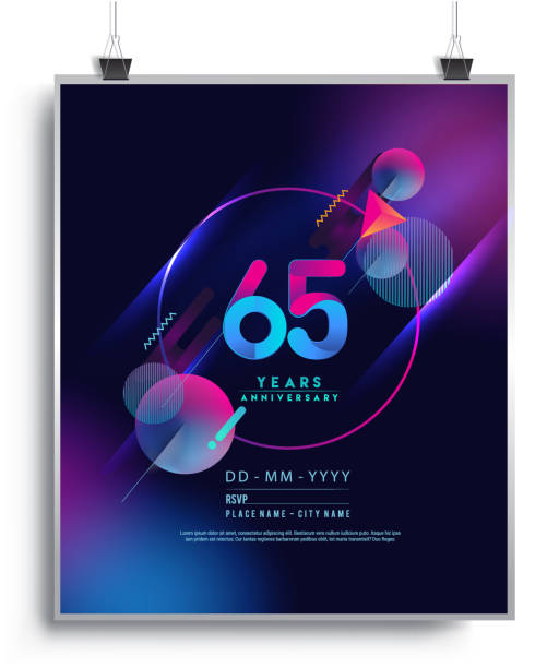 Anniversary Design with Colorful Abstract Geometric background. vector art illustration