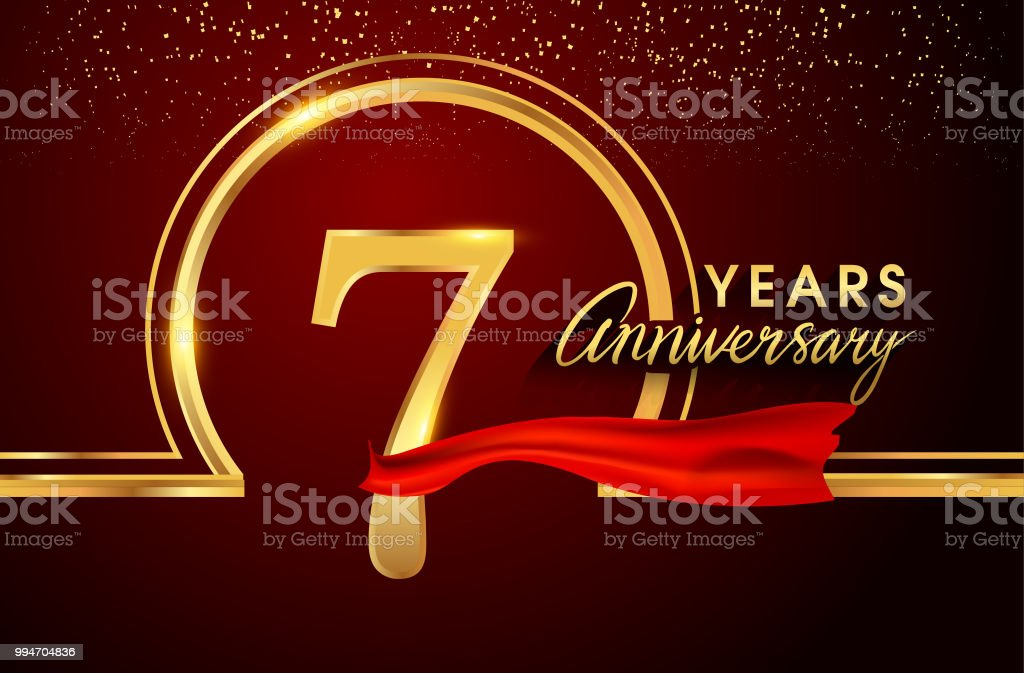 anniversary design with confetti and golden ring, red ribbon isolated on red background vector art illustration