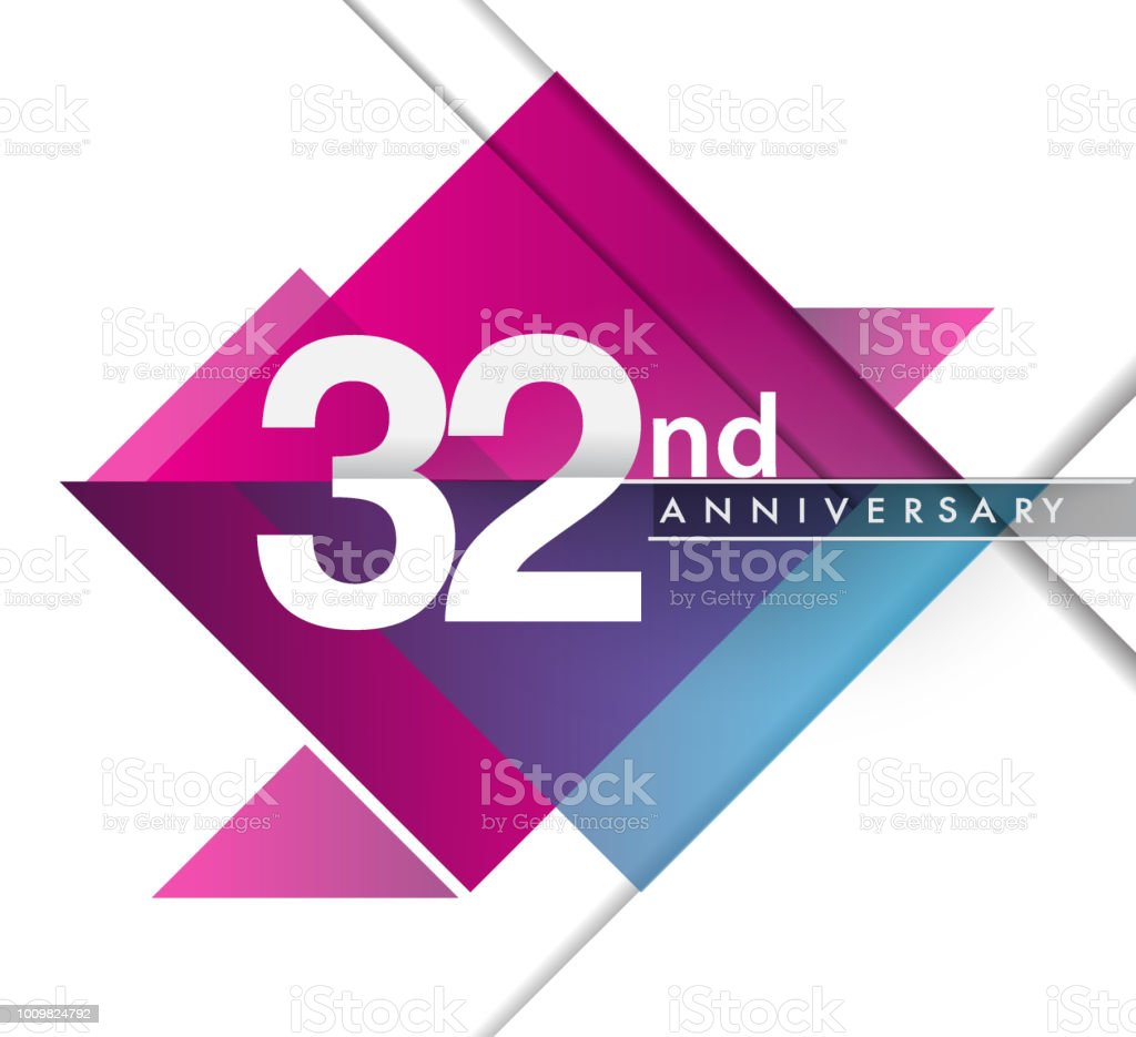 Anniversary design with geometric, vector design birthday celebration vector art illustration