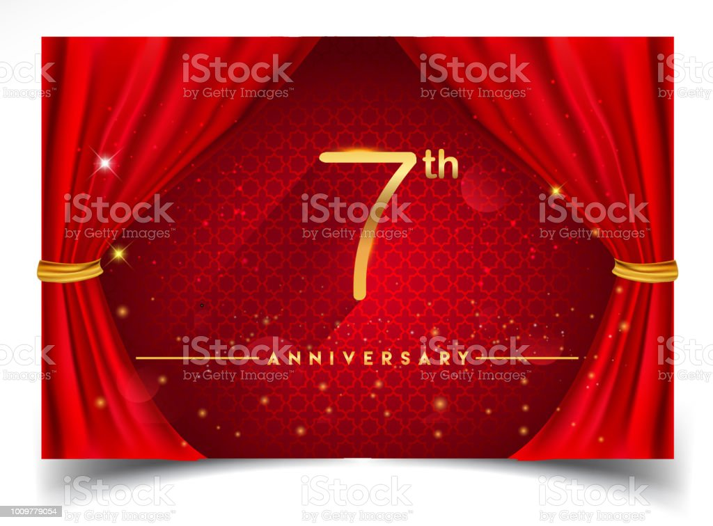 Anniversary design with Glowing Golden Colors Isolated on Realistic Red Curtain vector art illustration