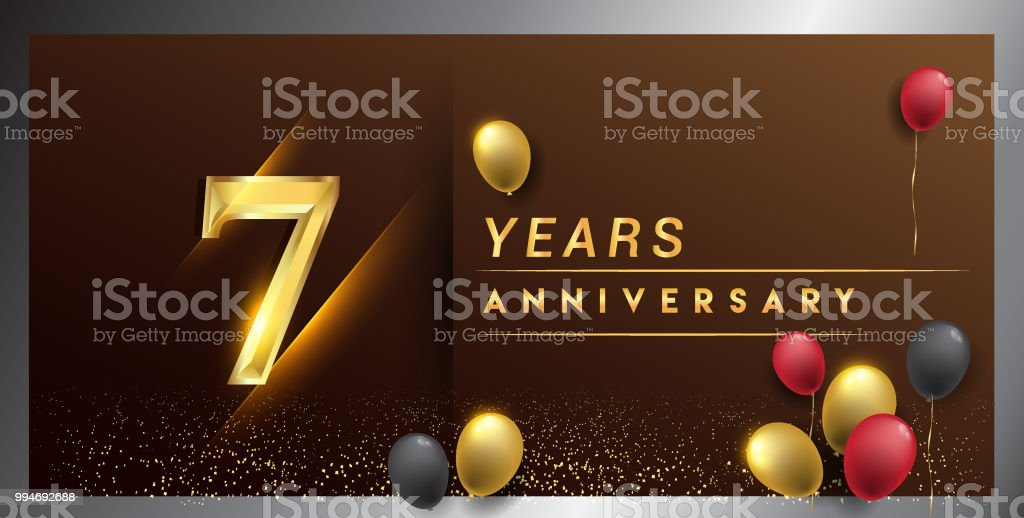 anniversary design with golden color, balloon and confetti isolated on elegant background vector art illustration