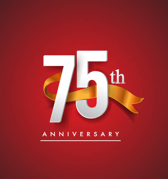Anniversary design with golden ribbon isolated on red elegance background vector art illustration